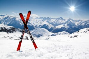 Skis on the snow
